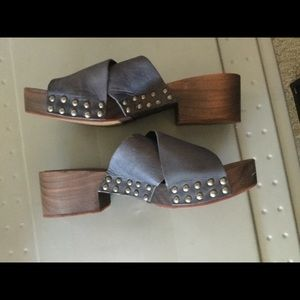 Free People Wood and Leather Mules Sz 39